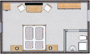 Grundrissbeispiel, nicht verbindlich für alle Komfort-Doppelzimmer