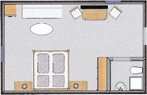 Grundrissbeispiel, nicht verbindlich für alle Premium-Doppelzimmer
