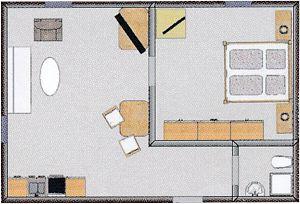 Grundrissbeispiel, nicht verbindlich für alle Suiten